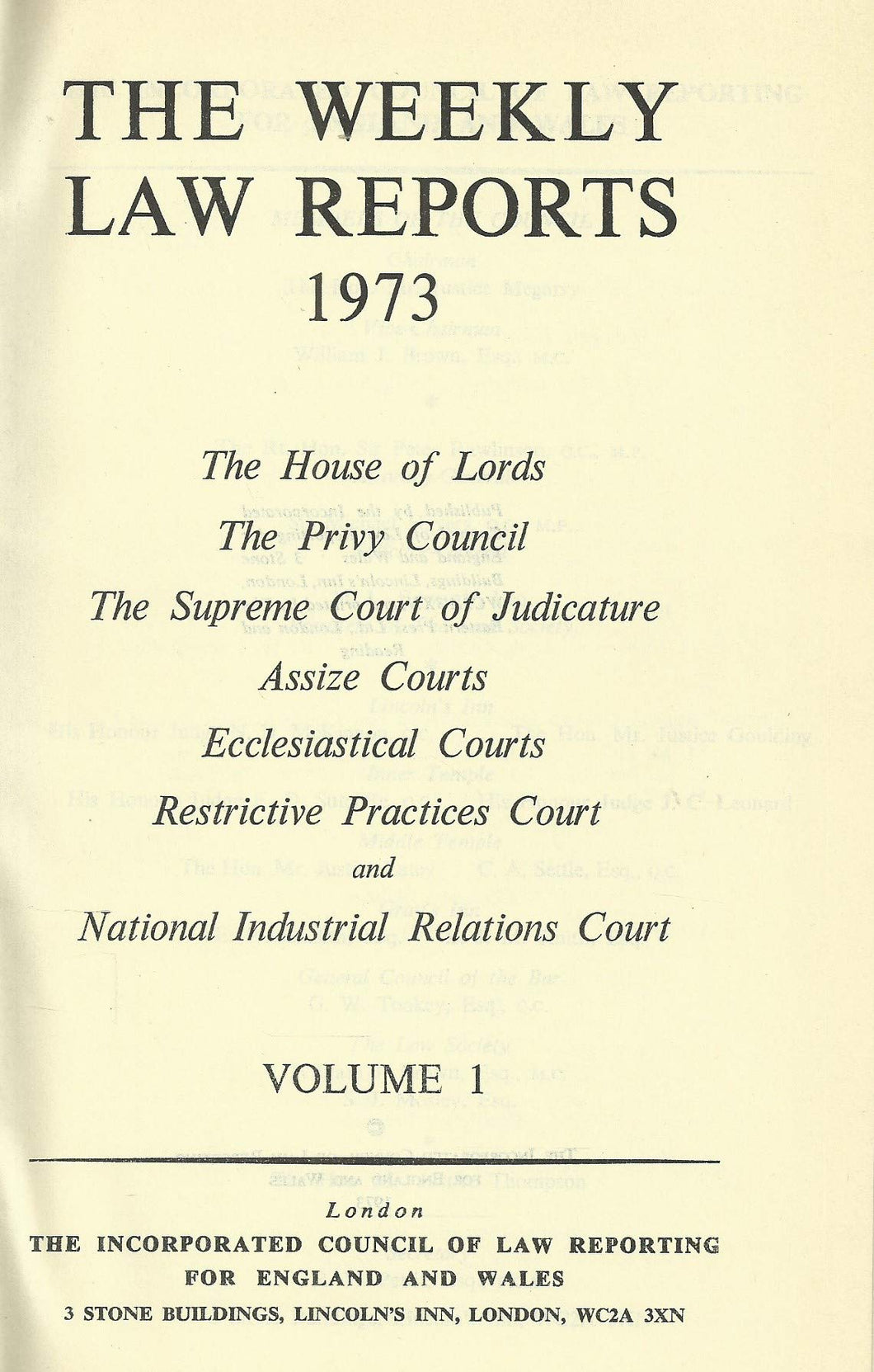 THE WEEKLY LAW REPORTS 1973: VOLUME I.