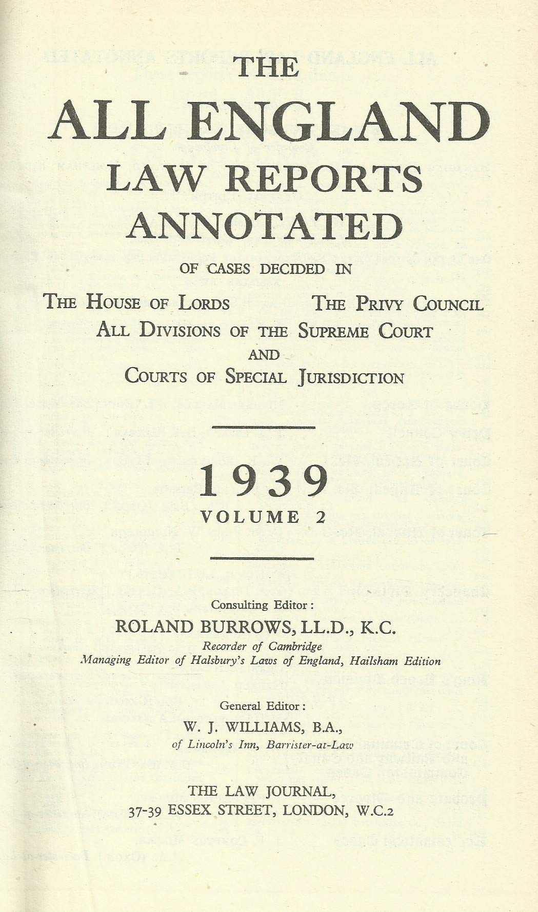 The All England Law Reports 1939, Volume 2