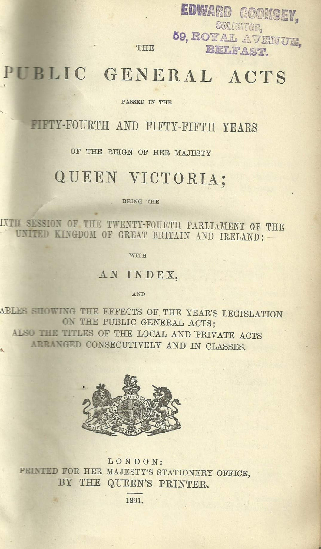 Statutes 54 and 55 Vict: The Public General Acts Passed in the Fifty-Fourth and Fifty-Fifth Years of the Reign of Her Majesty Queen Victoria