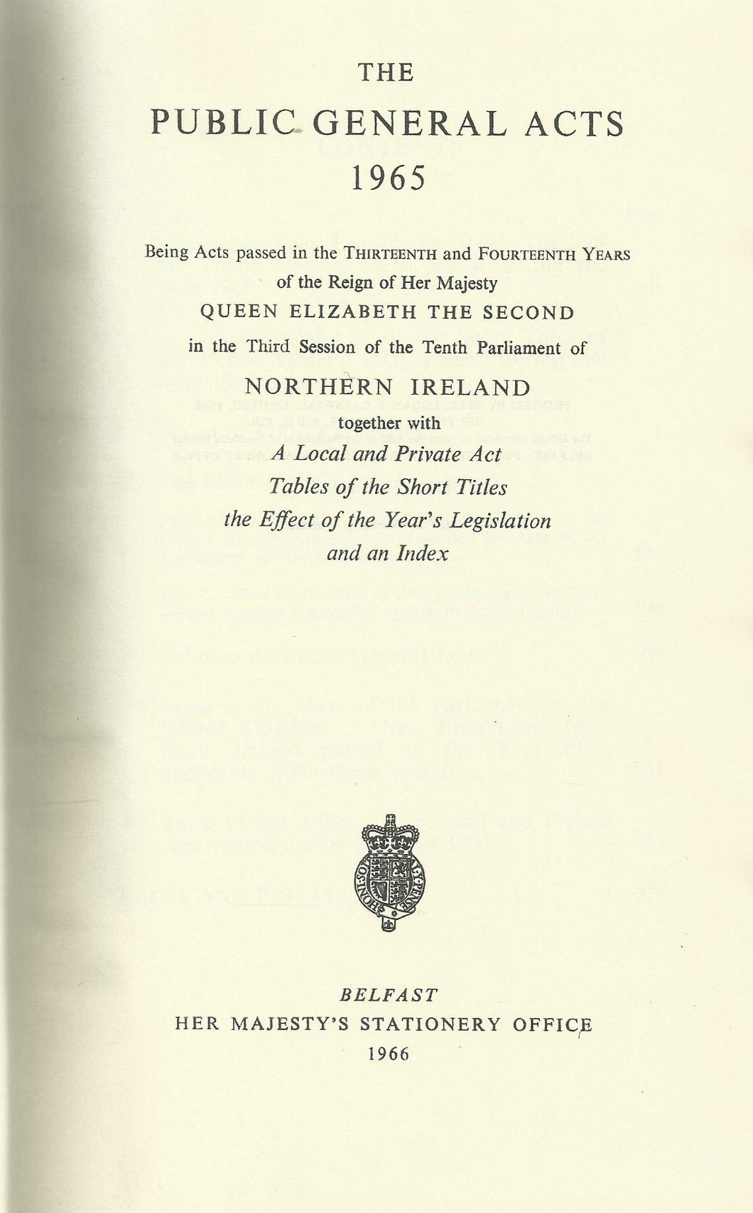 Northern Ireland - The Public General Acts 1965