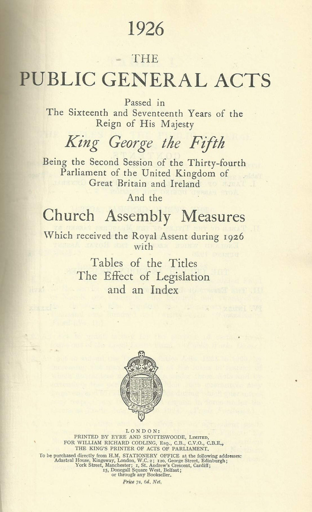 The Public General Acts and the Church Assembly Measures of 1926