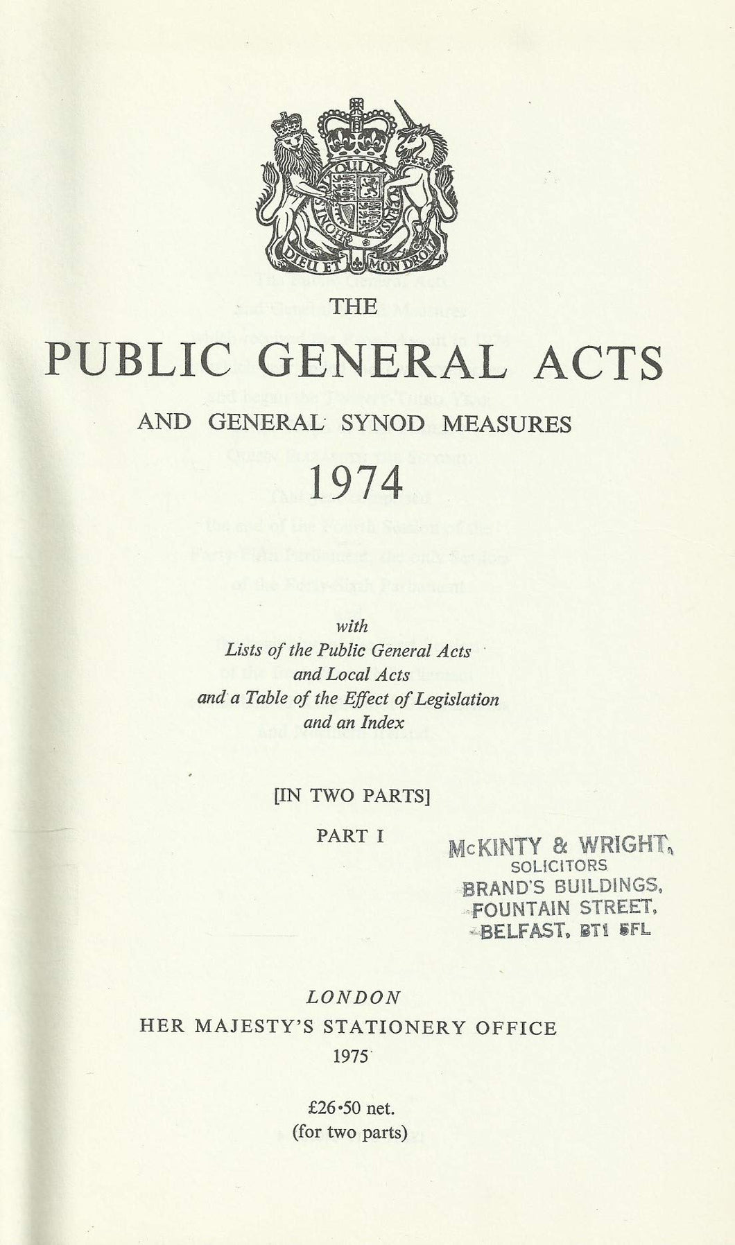The Public General Acts and General Synod Measures 1974