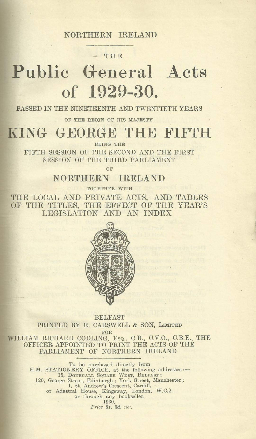 Northern Ireland - The Public General Acts of 1929-30