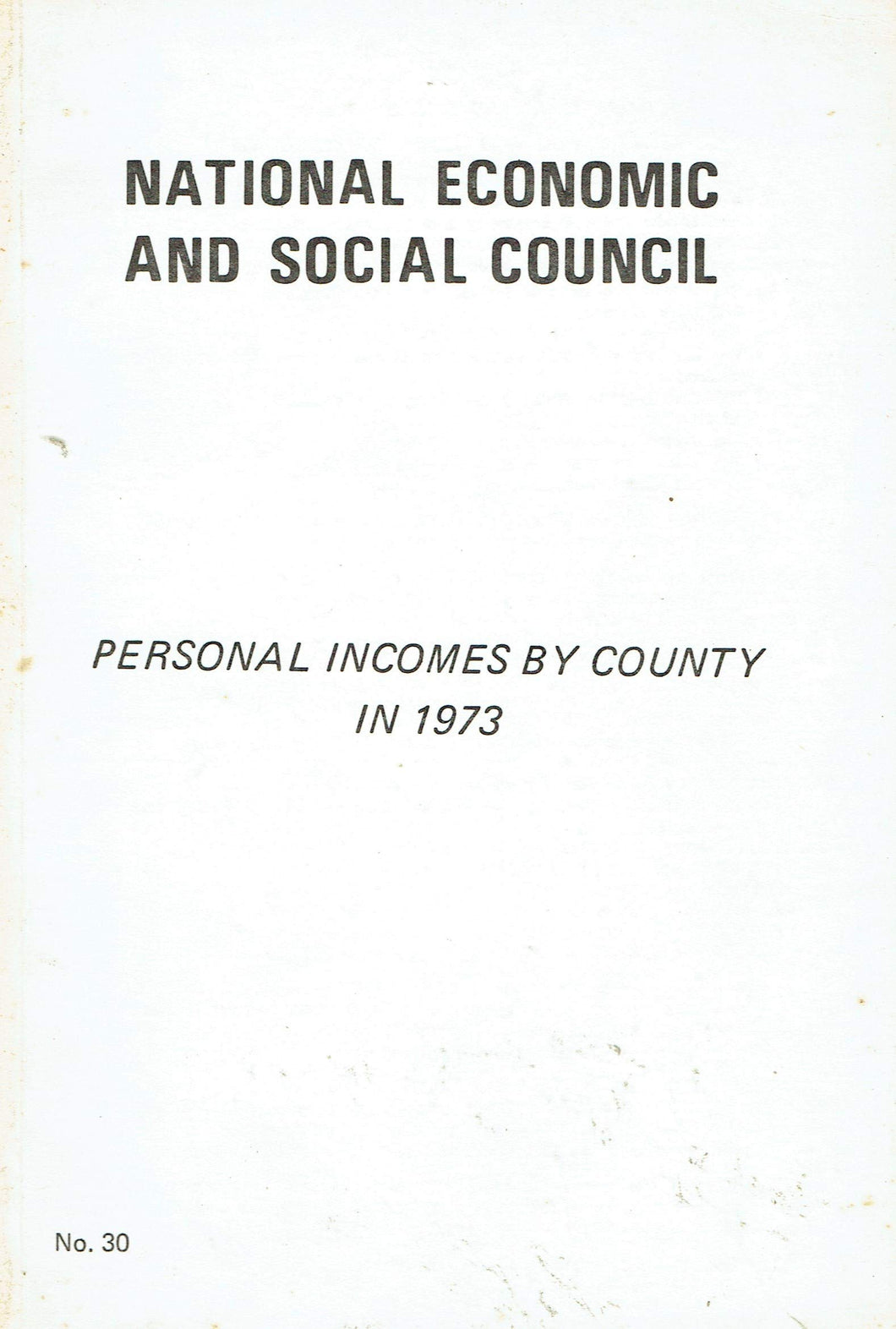 Personal Incomes by County in 1973: National Economic and Social Council