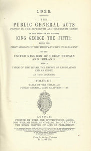 The Public General Acts 1924-5: 15 and 16 Geo V (Two-Volume Set)