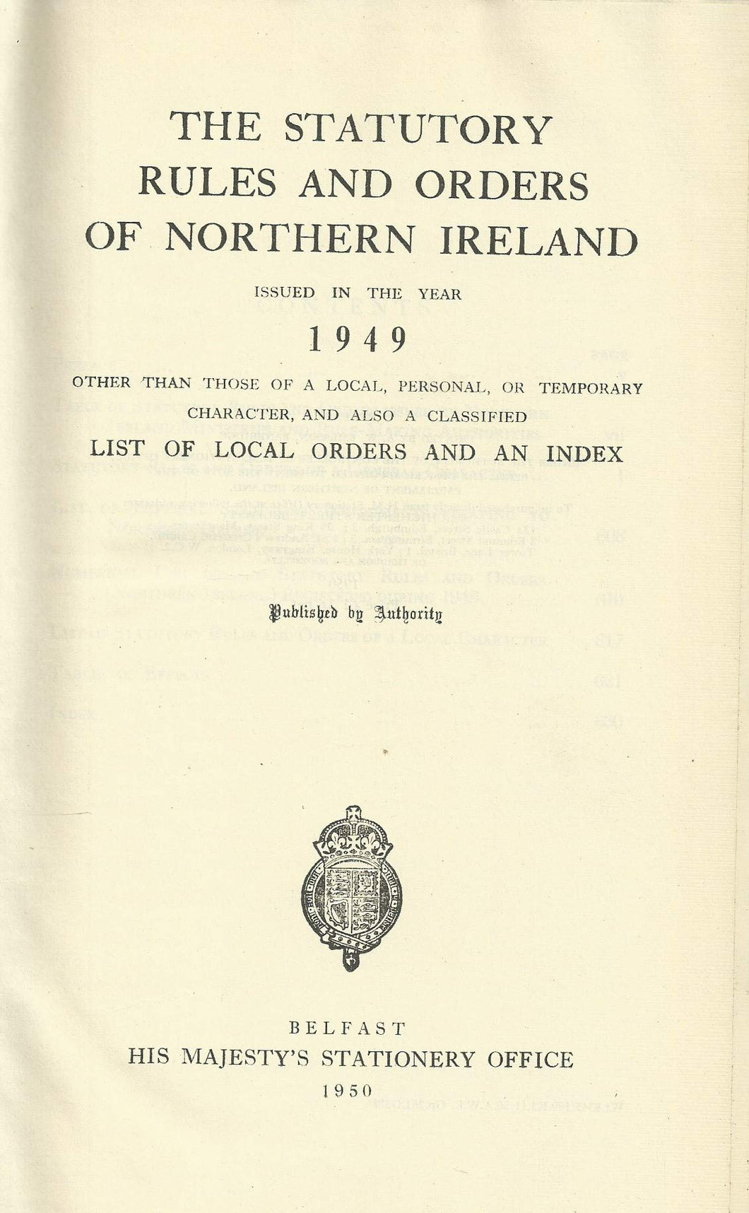 Northern Ireland Statutory Rules and Orders, 1949 - The Statutory Rules and Orders of Northern Ireland