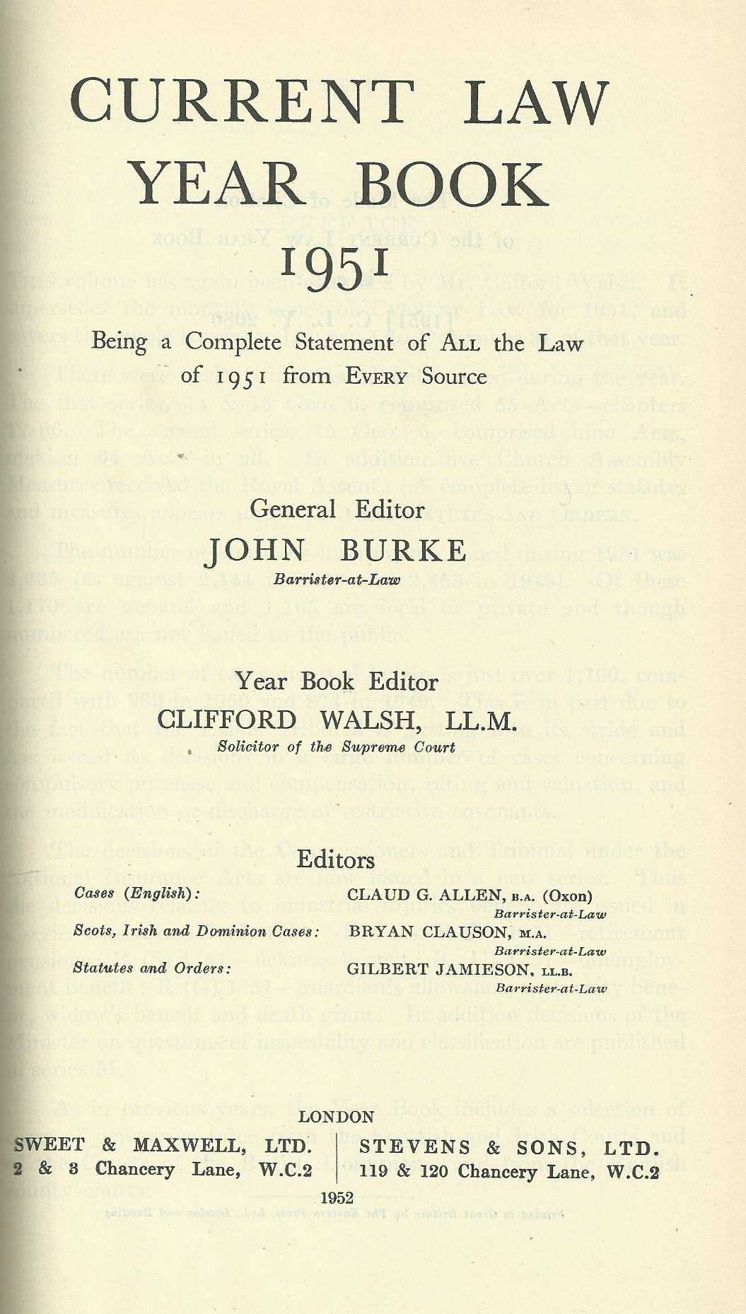 Current Law Year Book 1951. All the Law of 1951 from Every Source.