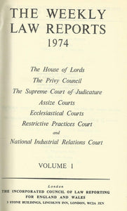 THE WEEKLY LAW REPORTS 1974: VOLUME I.