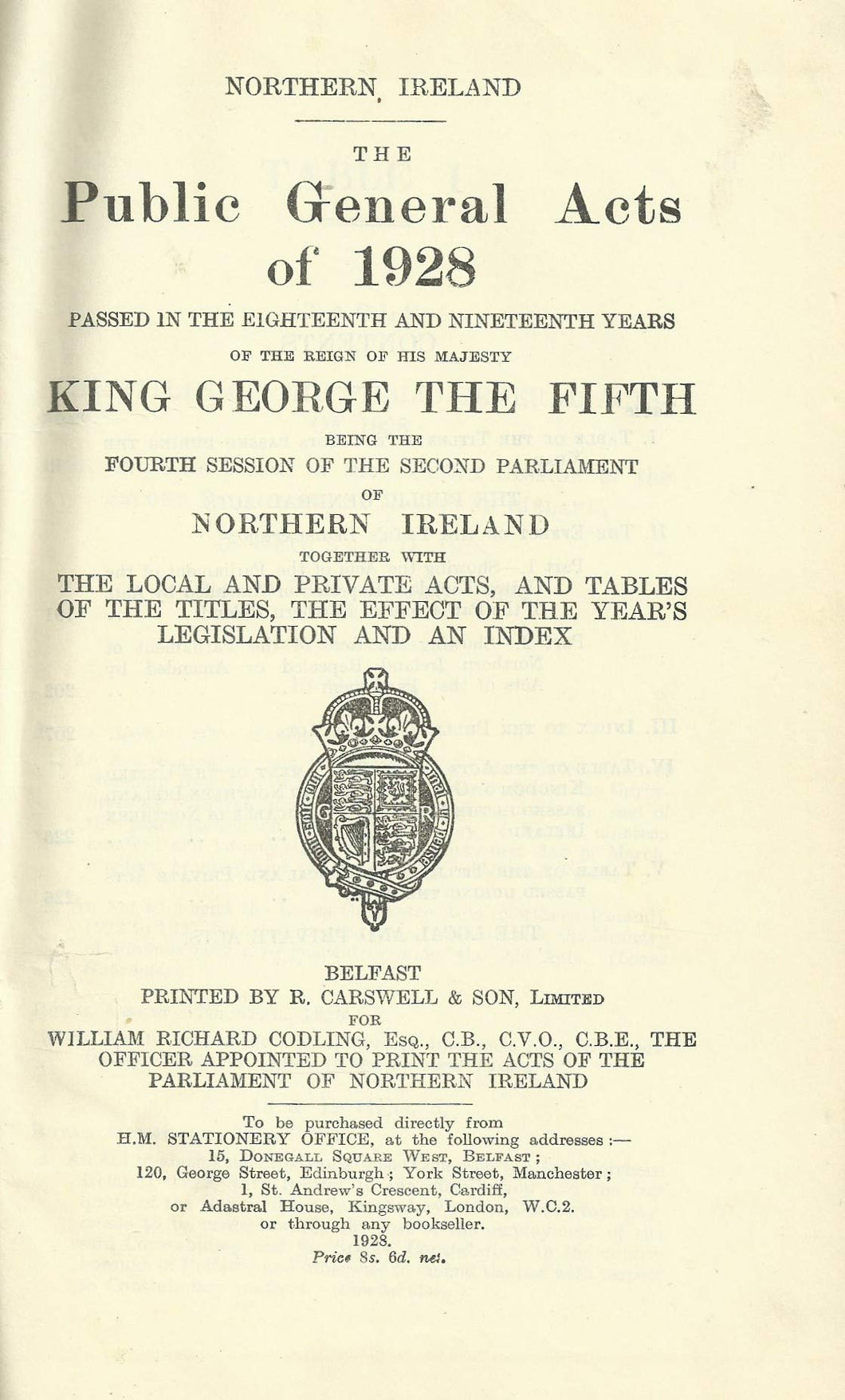 Northern Ireland Statutes: The Public General Acts of 1928
