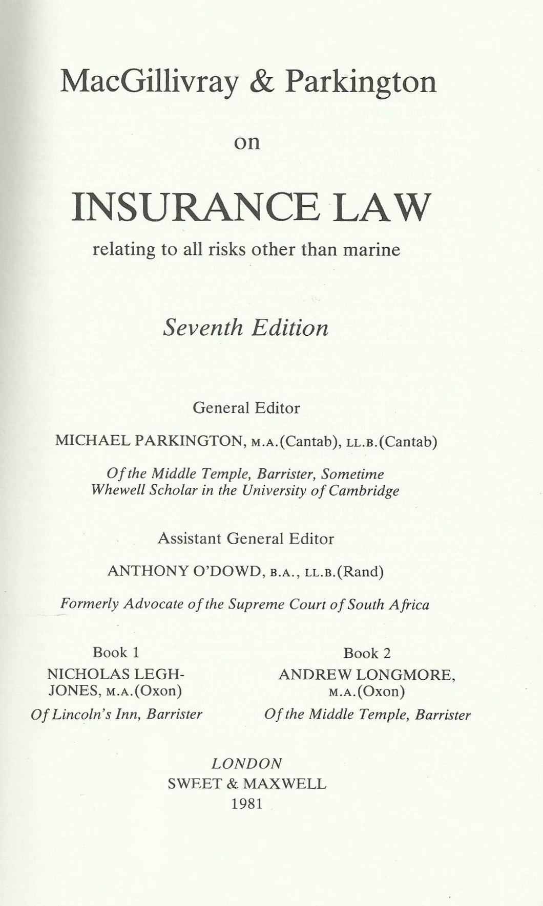 Insurance Law Related to All Risks Other Than Marine