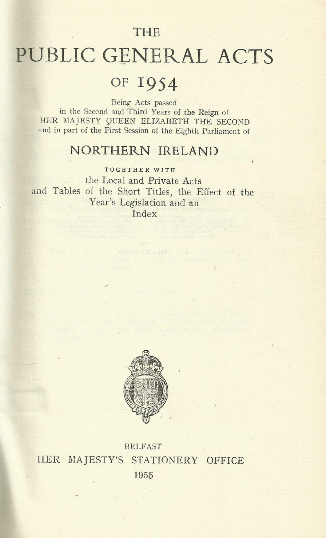 Northern Ireland - Public General Acts of 1954