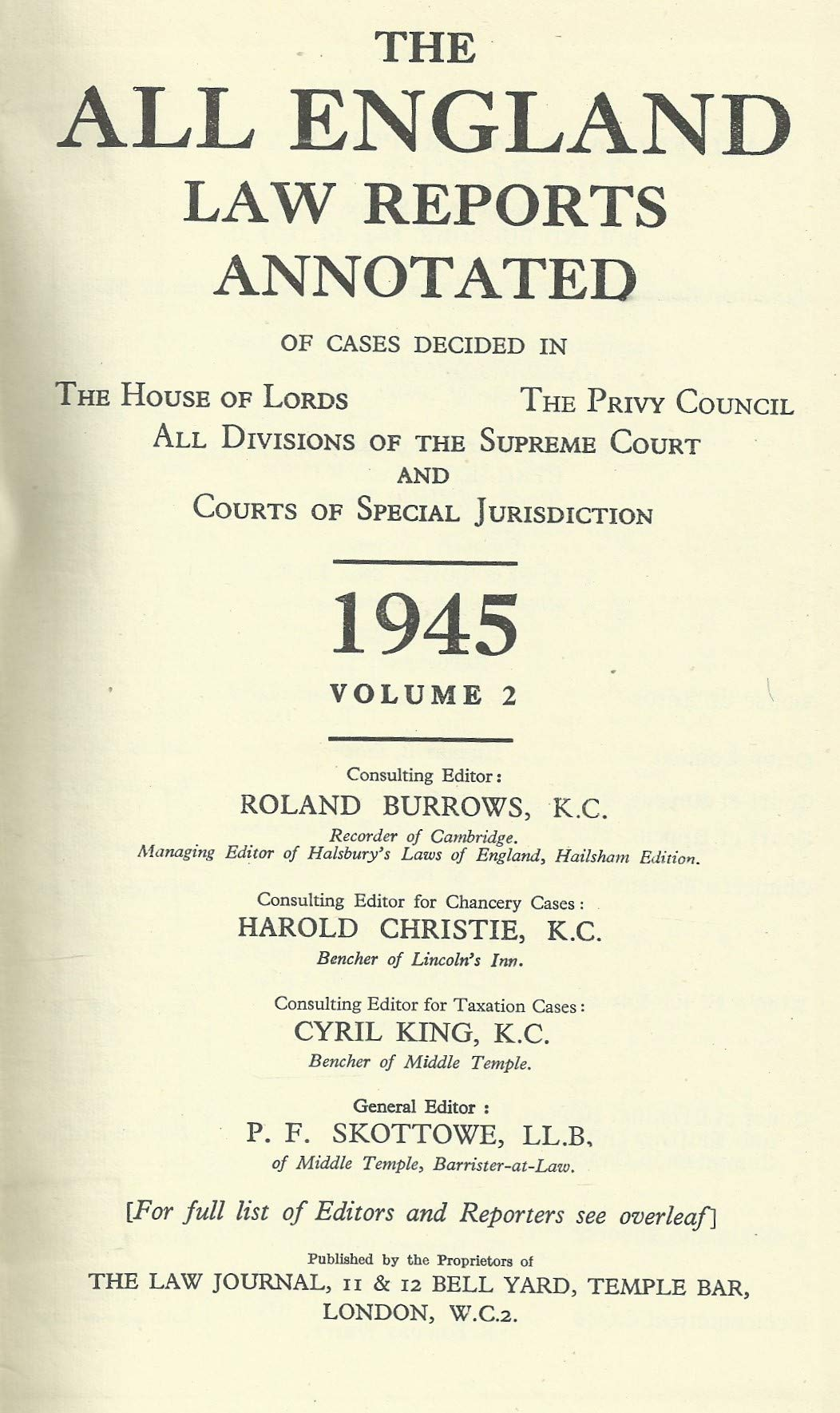 The All England Law Reports 1945, Volume 2