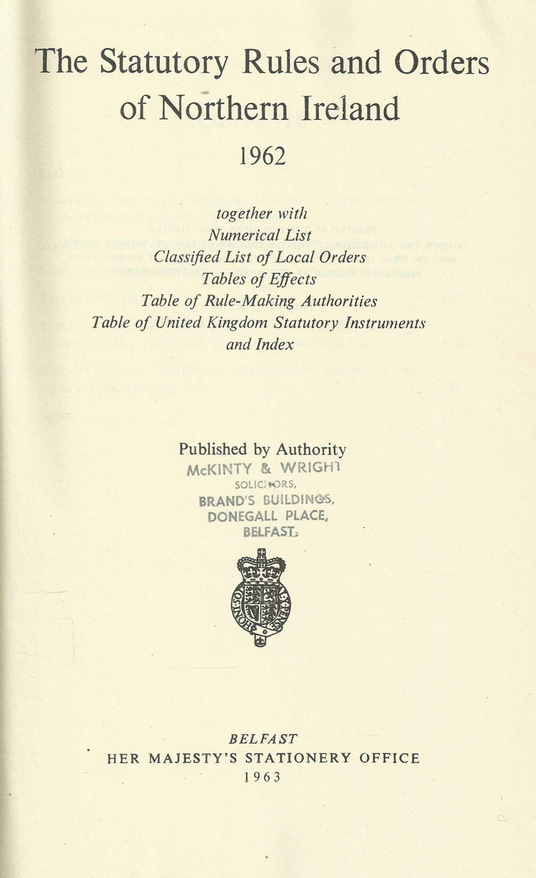 Northern Ireland Statutory Rules and Orders, 1962 - The Statutory Rules and Orders of Northern Ireland