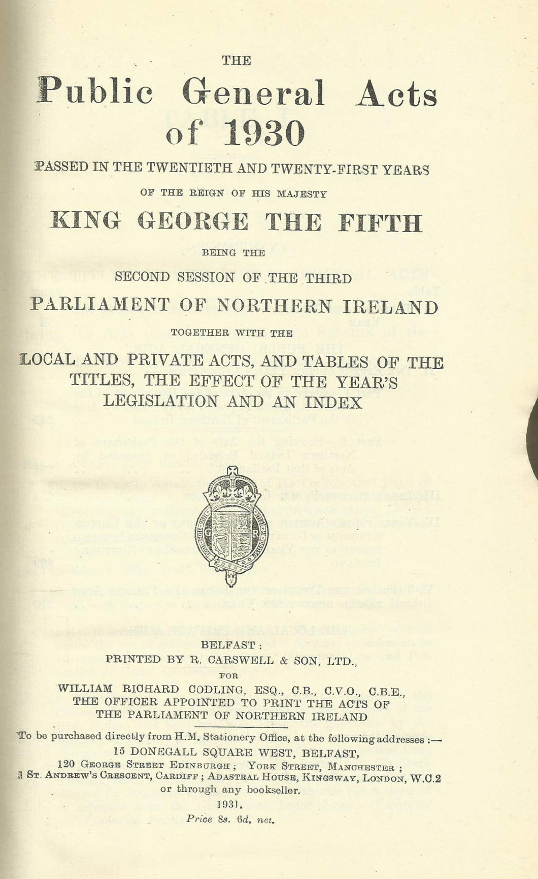Northern Ireland - Public General Acts of 1930