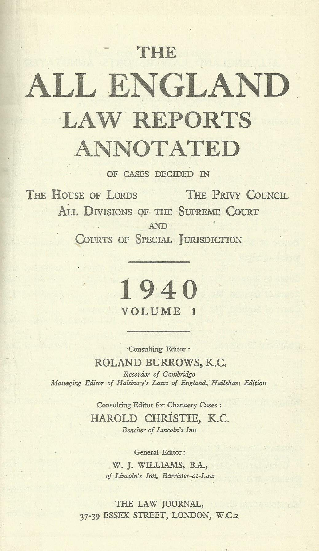 The All England Law Reports 1940, Volume 1