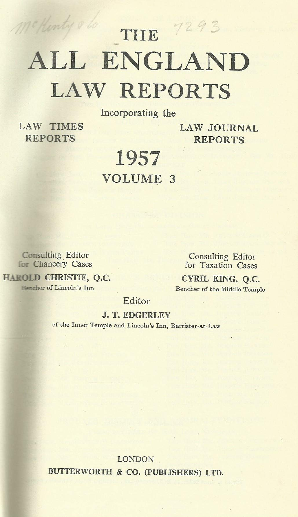 THE ALL ENGLAND LAW REPORTS, 1957: VOLUME 3.