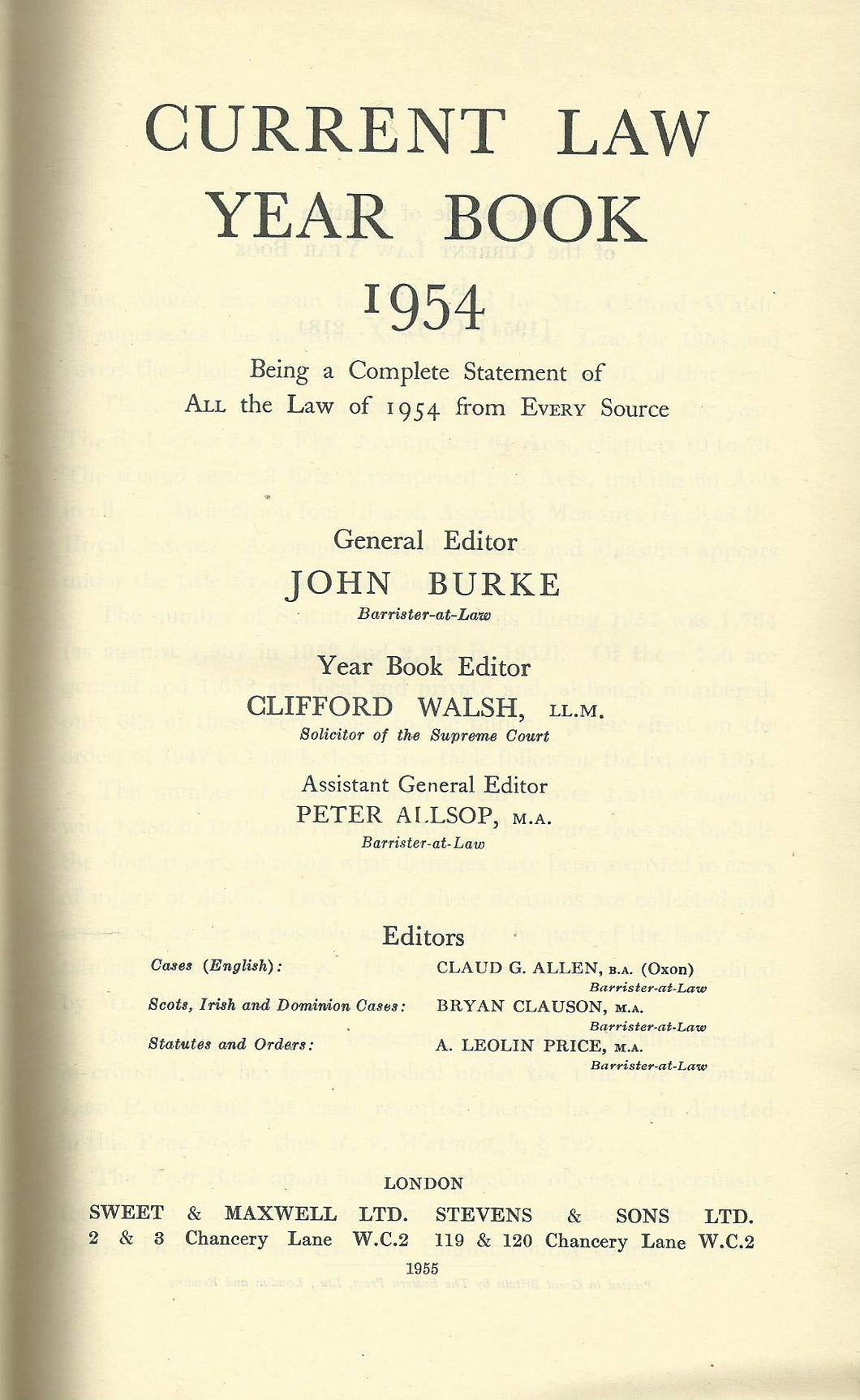 Current Law Year Book: 1954