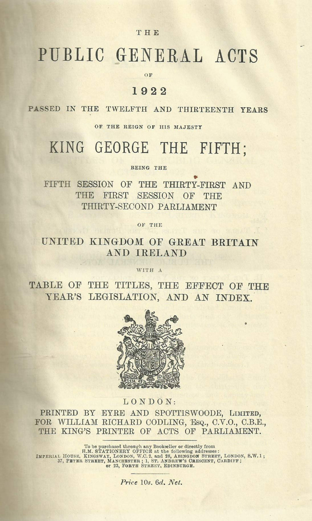 The Public General Acts and the Church Assembly Measures of 1922