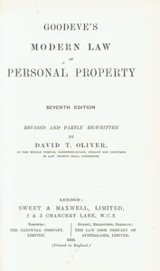 Goodeve on Personal Property - Goodeve's Modern Law of Personal Property, Seventh Edition