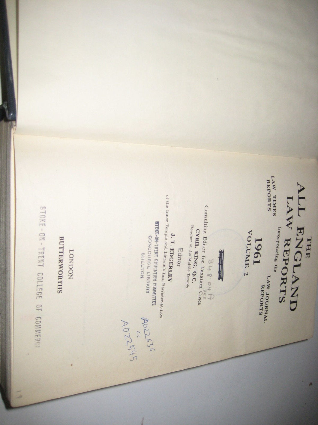The All England Law Reports 1961 Volume 2