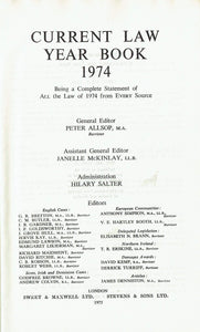 """Current Law"" Year Book 1974: w. Citator, 1947-74"