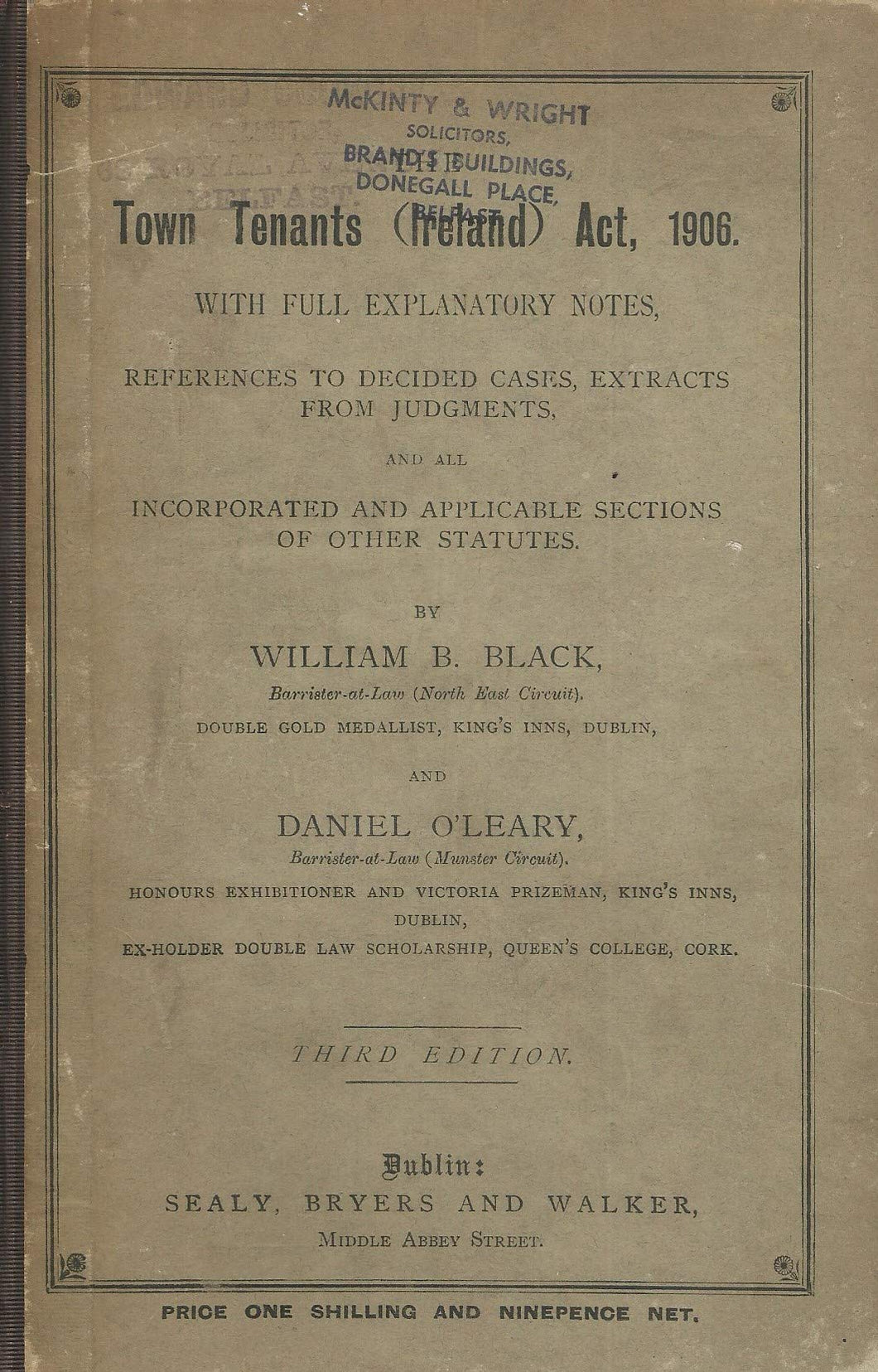 Town Tenants (Ireland) Act, 1906 - Third Edition/3rd Edition
