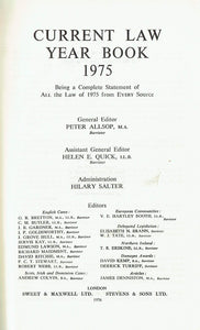 """Current Law"" Year Book 1975: w. Citator, 1974-75"