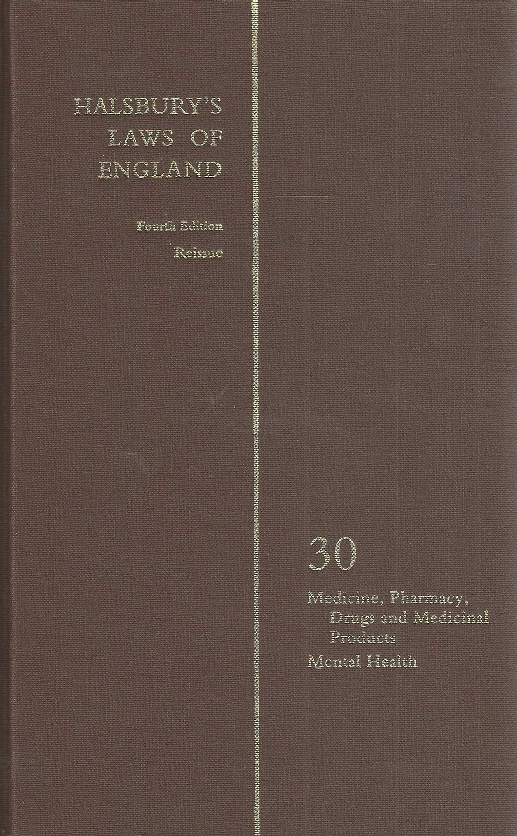 Halsbury's Laws of England 4th Edition Volume 30 Reissue