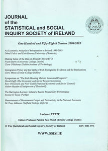 Journal of the Statistical and Social Inquiry Society of Ireland - Volume XXXIV (34), 158th Session 2004/2005
