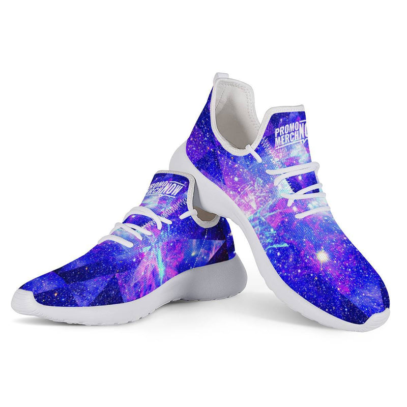 All Over Print Sublimated - White Mesh Knit Sneakers