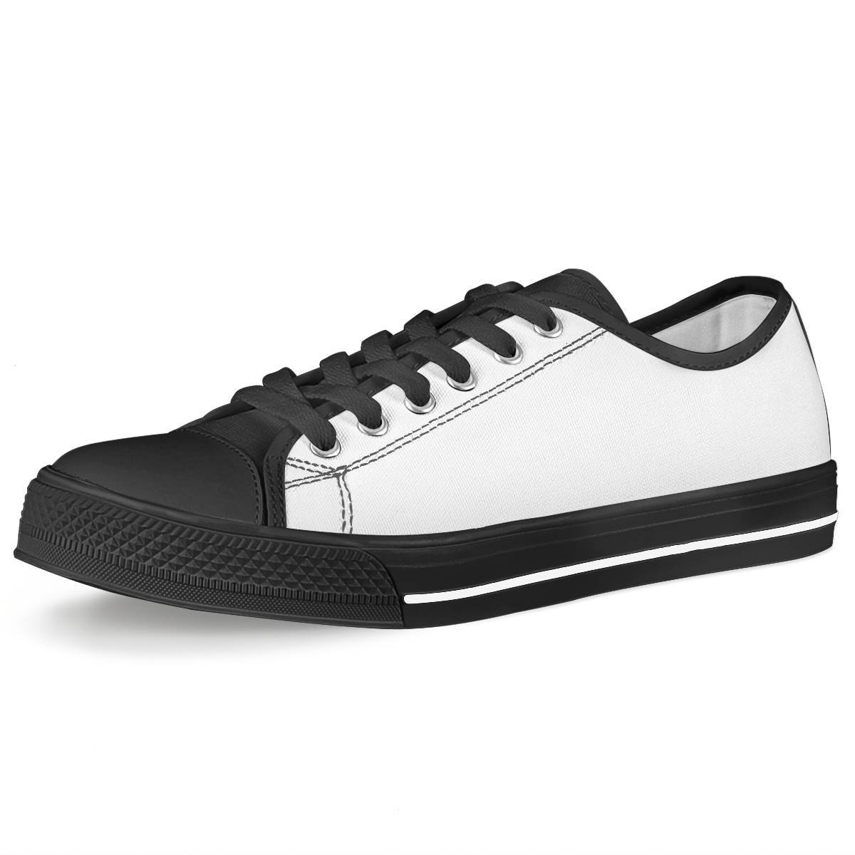 All Over Print Sublimated - Black Low Top Canvas Shoes