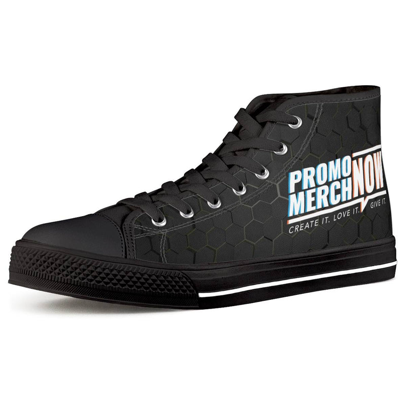 All Over Print Sublimated - Black High Top Canvas Shoes