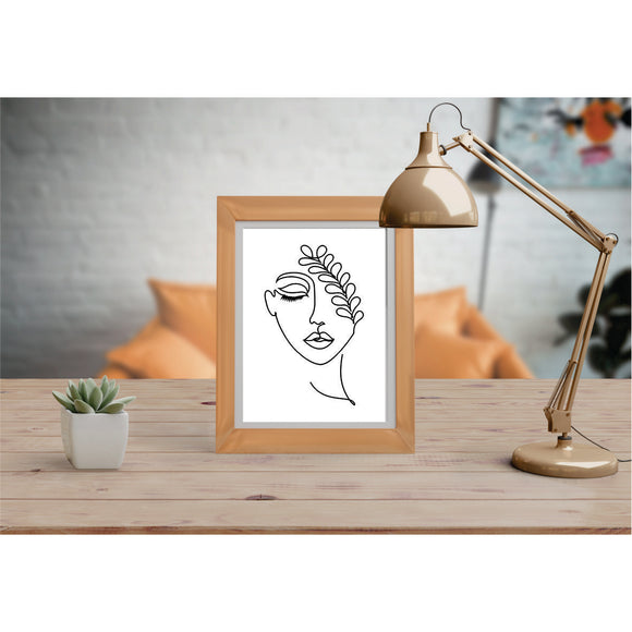 Girl With Leaf Art Prints Line Art Drawing