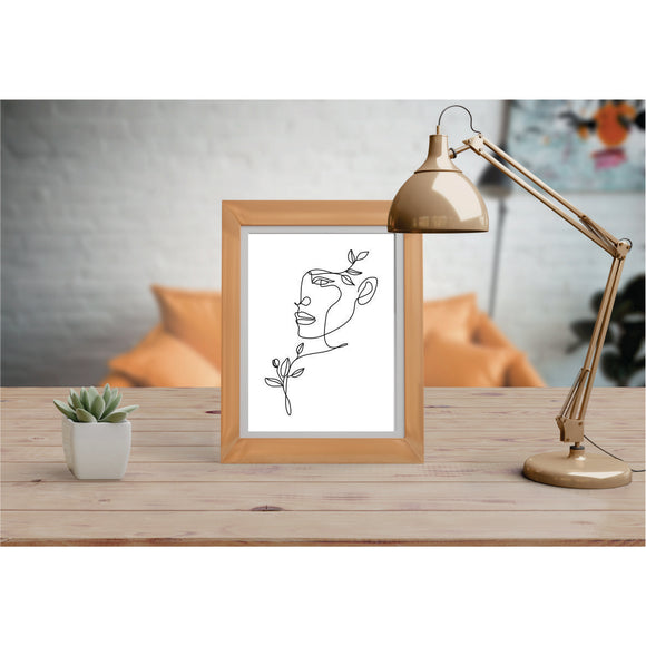 Face, Shoulder & Hair Leaves Art Prints Line Art