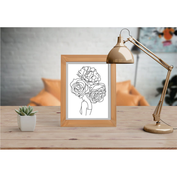 Face With 3 Flowers Art Prints Line Art Drawing