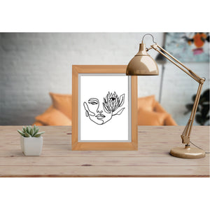 Face With Protea Art Print Line Art Drawing