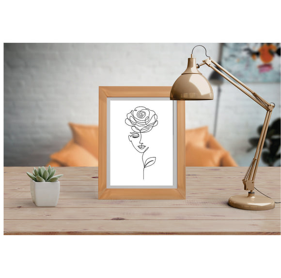Face With Rose Art Prints Line Art Drawing