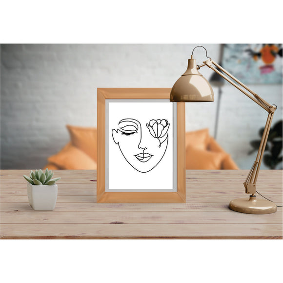 Face With Tulip Art Prints Line Art Drawing