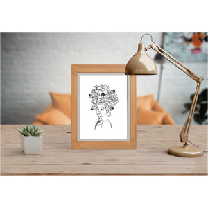 Girl With Bird And Flowers Art Prints Line Art Drawing