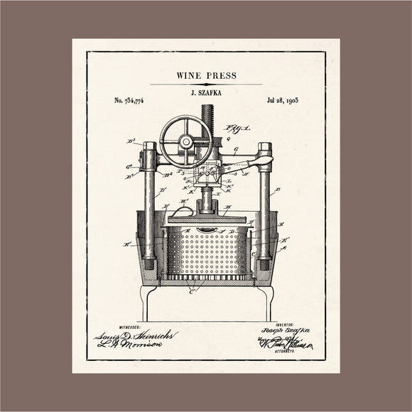 Blue Print Patent Wine Press Art Print