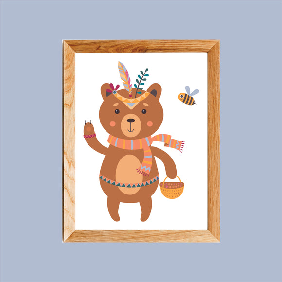 Boho Bear & Bee Art Print