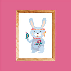 Boho Rabbit Art Print