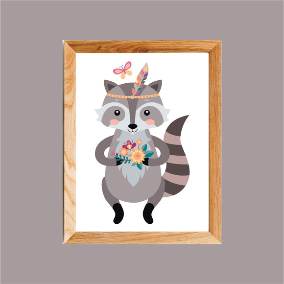 Boho Raccoon Art Print