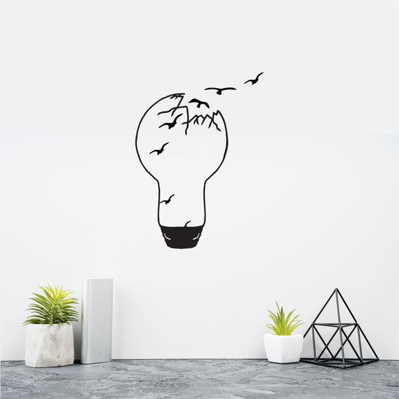 Bulb birds flying Vinyl Wall Art