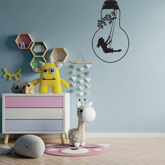 Bulb Girl On Swinging Vinyl Wall Art