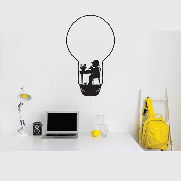 Bulb Boy On A Desk Vinyl Wall Art