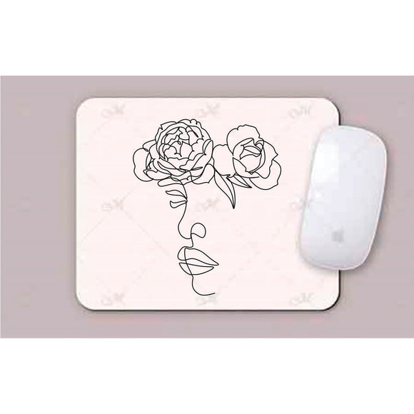 Face With 2 Flowers Line Art Mouse Pad