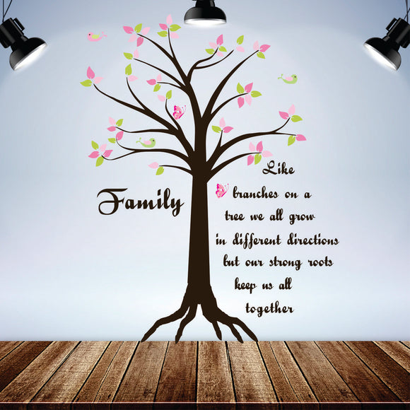 Family Tree With Words Vinyl Wall Art