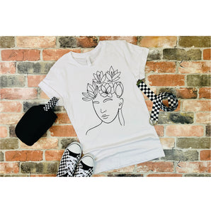 Flowers In The Head  Line Art T-Shirt