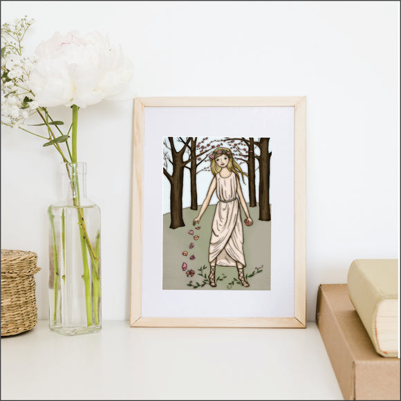Girl In The Woods Art Print